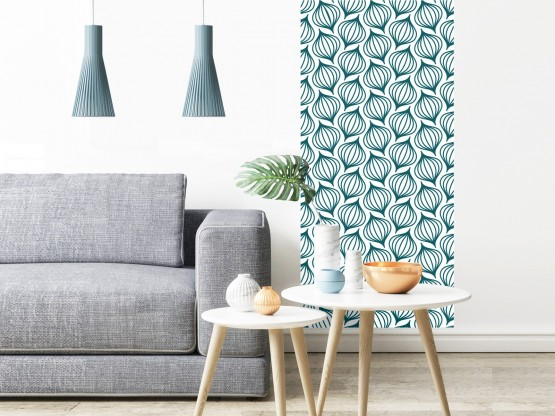 papier peint adh sif scandinave mod le lanternes bleu canard. Black Bedroom Furniture Sets. Home Design Ideas